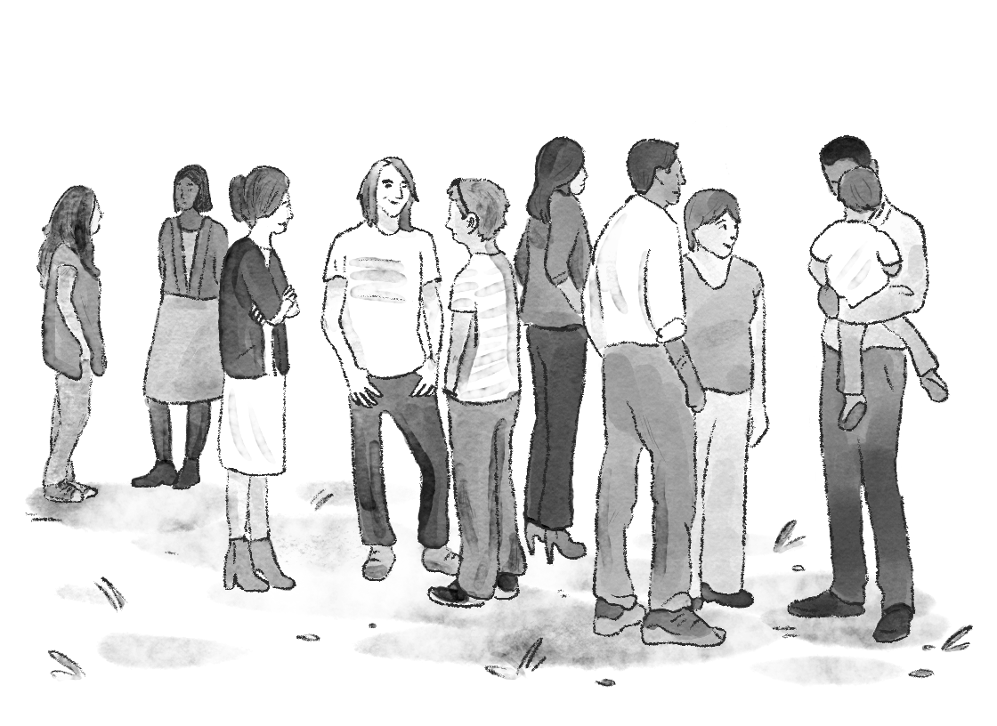 9 adults and 1 child standing in a group